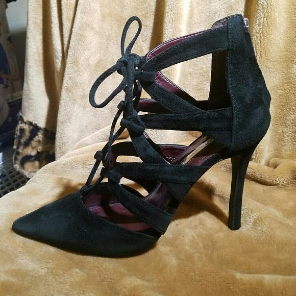 d90a9f00e65 BCBGeneration Shoes - final BCBGeneration Black Suede Laced Cage Heel